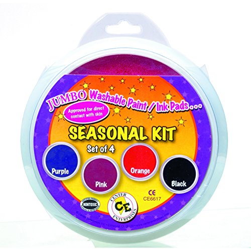 Center Enterprise CE6617 READY2LEARN Seasonal Stamp Pad Kit, Pink/Orange/Purple/Blue (Pack of 4) Jumbo Washable Circular Ink Pads