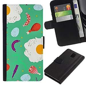 All Phone Most Case / Oferta Especial Cáscara Funda de cuero Monedero Cubierta de proteccion Caso / Wallet Case for Samsung Galaxy Note 3 III // Food Teal Abstract Chef Cook Abstract