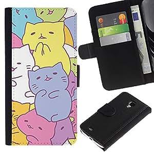 Caso Billetera de Cuero Titular de la tarjeta y la tarjeta de crédito de la bolsa Slot Carcasa Funda de Protección para Samsung Galaxy S4 Mini i9190 MINI VERSION! cute kittens drawing