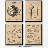 Original Golf Patent Art Poster Prints - Set of 4 8x10 Unframed Vintage Style Pictures - Golf Club, Ball and Tee - Great Wall Art Decor Gifts for Golfers, Man Cave, Country Club, Office, Gym.