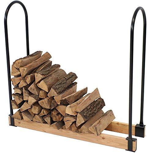 Adjustable Outdoor Log Rack - Sunnydaze Steel Adjustable Firewood Log Rack Bracket Kit- Adjusts Up to 16 Feet Wide