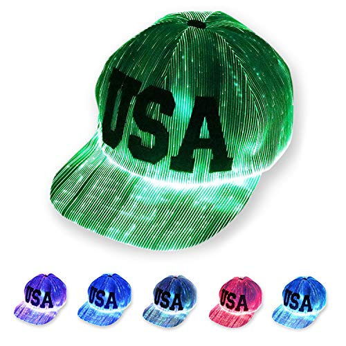 LED Light up Hat 6-Color Glow Baseball Cap, Unisex Fiber Optic Luminous Rave Hat