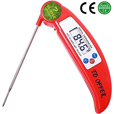 TD OFFER Instant Read Thermometer Best Digital Meat Thermometer with Probe for Kitchen BBQ Oven Grilling Coffee Candy Liquid and Food, Red