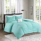 Comfort Spaces – Montana Comforter Set - 4 Piece – Aqua Blue – Ruched Pattern – Full/Queen size, includes 1 Comforter, 2 Shams, 1 Decorative Pillow