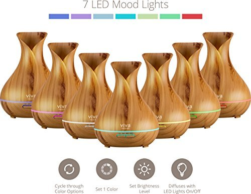 Viva Naturals Ultrasonic Aromatherapy Essential Oil Diffuser, Large 400ml Tank - Vibrant Changeable LED Lights, Soothing Mist & Automatic Shut Off (Pine Tranquil Model)