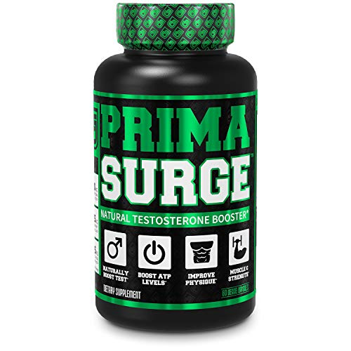 PRIMASURGE Testosterone Booster for Men - Boost Lean Muscle Growth, Strength, Energy & Fat Loss | Natural Test Booster Supplement w/Premium PrimaVie, Ashwagandha & More - 60 Veggie Pills (Best Testosterone Booster On The Market For Libido)