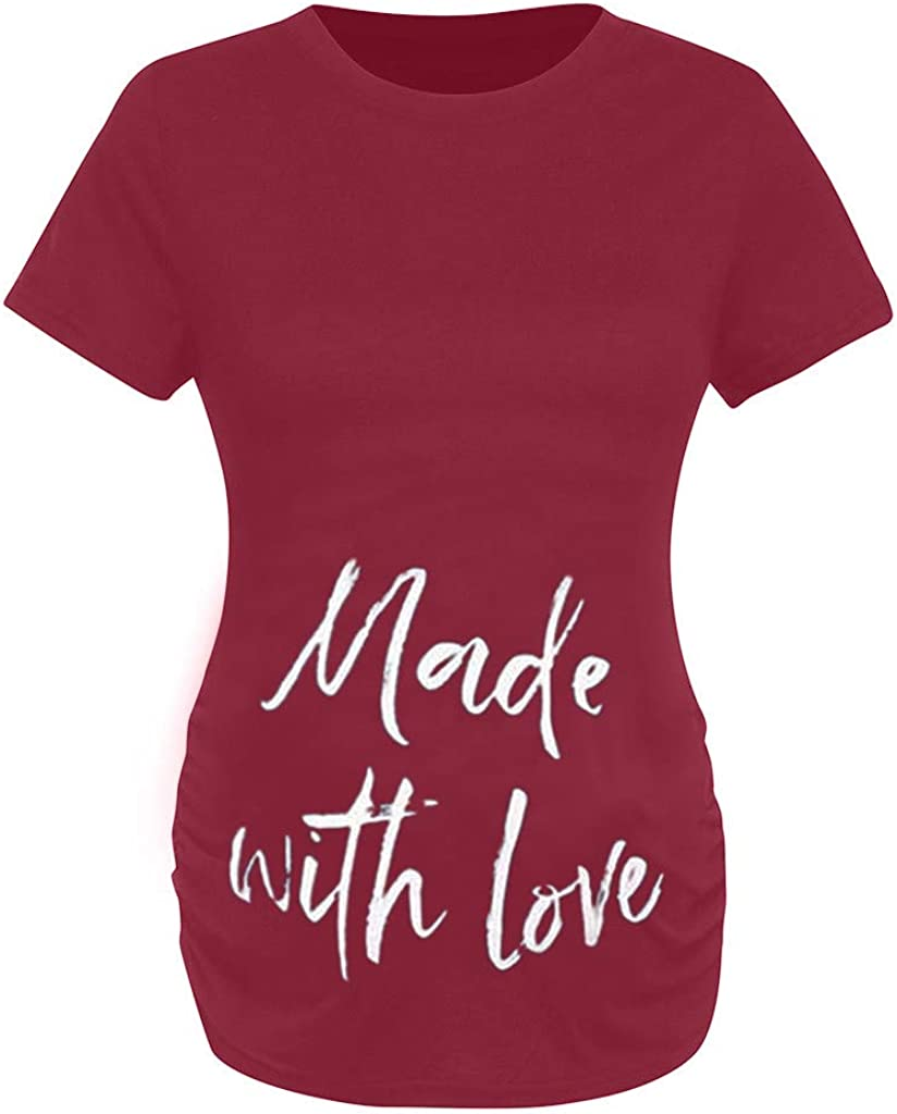 Dsood Pregnancy Shirts Sayings Maternity T Shirts Funny Made with Love Novelty T-Shirt Summer Casual Clothing