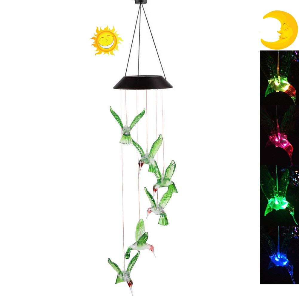 Xhope LED Solar Hummingbird Wind Chime, Changing Color Waterproof Six Hummingbird Wind Chimes Night Lights Solar Hanging Lantern for Home Garden Bedroom Outdoor Decoration