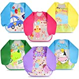 Letilio Bibs with Sleeves, Set of 6 Unisex Baby Waterproof Long Sleeved Bibs for 6-Month Infants to 3-Year-Old Toddlers(Under 20kg) Comfortable Soft Baby Bibs Keep Stains Off, black,