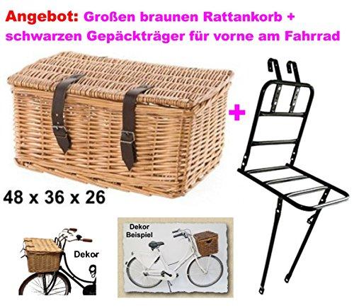 Fahrradkorb groß braun + schwarz Gepäckträger