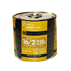 Southwire 55681844 250-Feet 16-Gauge, 2 Conductor 16/2 Type SPT-2 Lamp Cord-Service Parallel Cord with Thermoplastic Insulation, Black