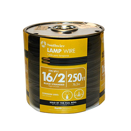 Southwire 55681844 250-Feet 16-Gauge, 2 Conductor 16/2 Type SPT-2 Lamp Cord-Service Parallel Cord with Thermoplastic Insulation, Black (Cord Black Spool)