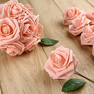 Febou Artificial Flowers, 50pcs Real Touch Artificial Foam Roses Decoration DIY for Wedding Bridesmaid Bridal Bouquets Centerpieces, Party Decoration, Home Display, Office Decor (Standard Type, Pink) 2