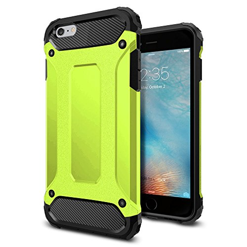 iPhone 6s Case, iPhone 6 Case, 4EVR Protective Shock-Absorbing, Dual (Neon Green Hard Case)