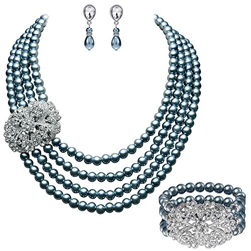 (BABEYOND 1920s Gatsby Pearl Necklace Vintage Bridal Pearl Necklace Earrings Jewelry Set Multilayer Imitation Pearl Necklace with Brooch (Style 4-Gray))