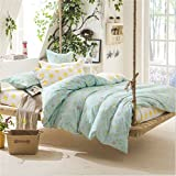 Sookie 3 Piece Duvet Cover Set with 2 Pillow Shams - 800 Thread Count Luxurious&Extremely Durable Premium Bedding Collection - Green small flower dobby - Twin Size