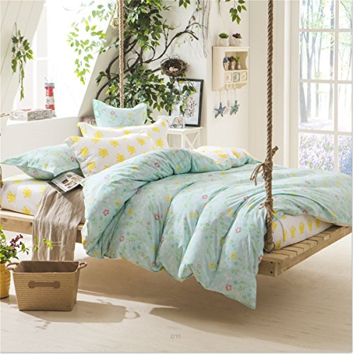 Sookie 3 Piece Duvet Cover Set with 2 Pillow Shams - 800 Thread Count Luxurious&Extremely Durable Premium Bedding Collection - Green small flower dobby - Queen Size