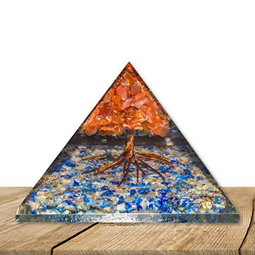 YATSKIA Lapis Lazuli Citrine Gemstone Orgone Pyramid with Carnelian Tree Reiki Healing Crystal Chakra Balancing Spiritual Gift Energy Generator Size: 3-3.5 Inch
