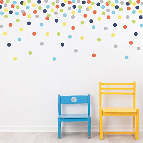 2 inch Polka Dot Wall Decals Navy Orange Blue Green Yellow Gray Eco-Friendly Fabric Dot Wall - Wall Dot Polka Bubble