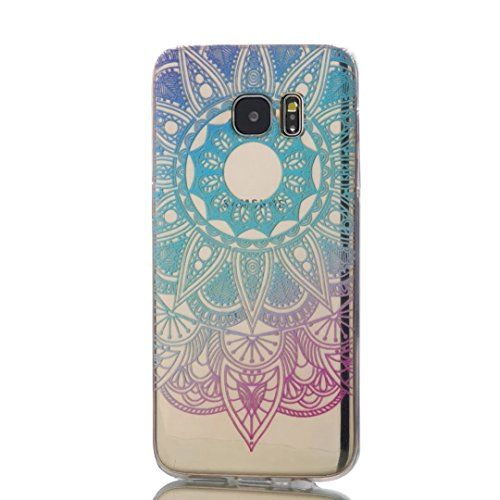 KSHOP Samsung Galaxy S7 Edge TPU Soft Case Transparent TPU Silicone Cover Bumper ShellColorful Pattern Design Clear Crystal Protective Back Bumper Shell-Blue Sunflower