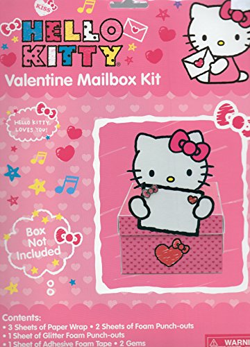 Decorate Valentine Box (Hello Kitty Valentine Mailbox Kit (Box Not Included) Designed to Decorate a Box 8.25