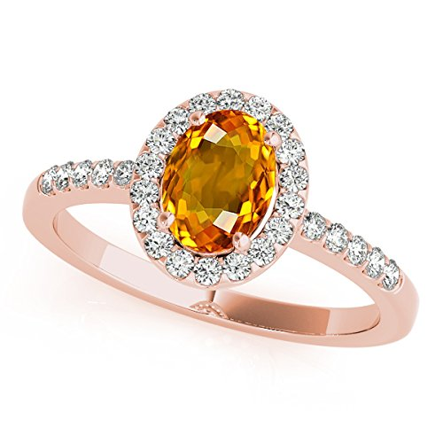Oval Citrine Ring Shaped (2.45 Ct. Ttw Diamond and Oval Shaped Citrine Ring in 10K Rose Gold)