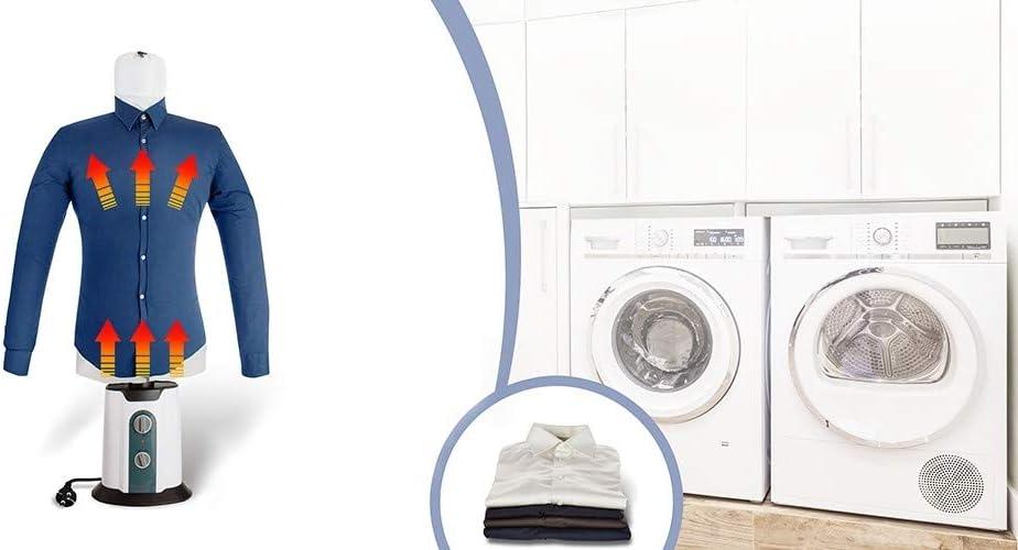 TECHNOSMART Plancha y Secadora automática con accesorio de camisas, Plancha para Camisas, Maniquí de Planchado con Calor, 2 en 1 Secador y Plancha, Temperatura y Tiempo Ajustable