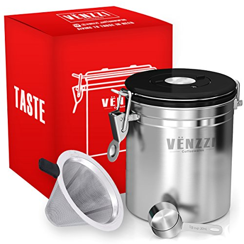 Airtight Coffee Canister 16 oz By VENZZI | Coffee Storage Vault | Stainless Steel Airtight Canister With Co2 Valve | Container Great for Ground or Coffee Beans | FREE SCOOP AND FILTER