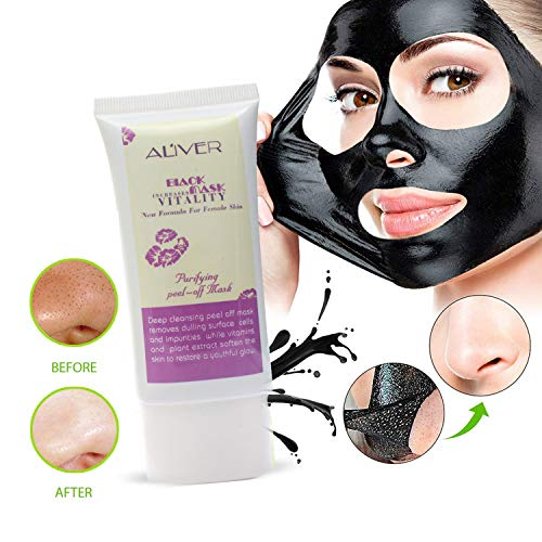 Charcoal Peel Off Mask - Blackhead Remover Mask,AL'IVER Deep Cleaning Facial Black Mask for Face & Nose Blackhead Acne & Acne Scars, Blemishes.