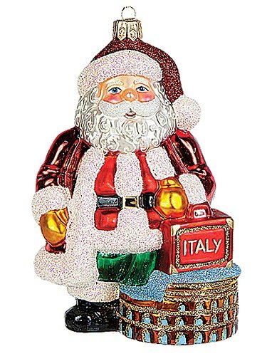 Santa in Rome Italy Polish Mouth Blown Glass Christmas Ornament Decoration