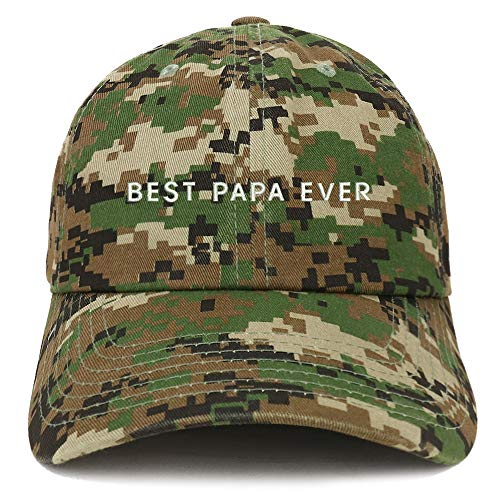 Trendy Apparel Shop Best Papa Ever One Line Embroidered Soft Crown 100% Brushed Cotton Cap - Digital Green ()