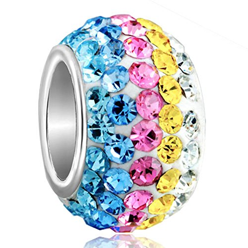 Colored Yellow Pink Blue Crystal Jewelry Bead Fits Pandora Charm Bracelet