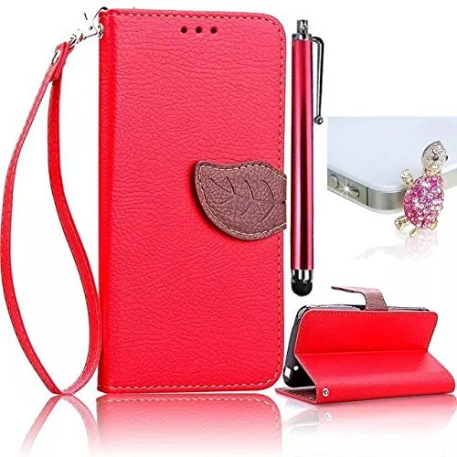 Vandot 3 in1 Set 3D Blatt Leaf Leder Brieftasche Hülle Für Nokia Lumia 520 N520 Buch Flip Folio Wallet Karte Slot Premium Magnetverschluss Tasche Protection Case Skin Cover Retro Dame Hybrid Dual Farbe Schale Strap Handtasche Etui - Rot Tree Wood + Bling Strass Niedlich Turtle Anti Dust Plug Headset Stöpsel + Metall Touch Pen Eingabestift Stylus