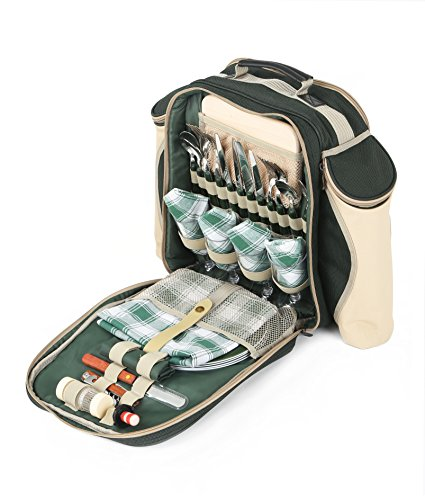 Greenfield Collection Deluxe Forest Green Picnic Backpack Hamper for Four People