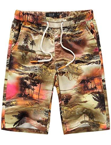 SSLR Mens Quick Dry Summer Beach Drawstring Hawaiian Board Shorts