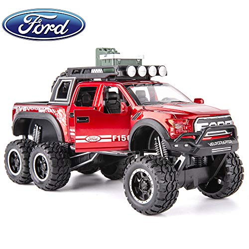 TGRCM-CZ Diecast Model Cars Toy Cars, F150 Truck Pickup 1:28 Scale 6x6 Alloy Pull Back Toy Car with Sound and Light Toy for Girls and Boys Kids Toys (Red)