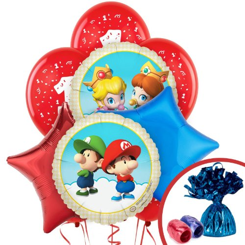 Toadstool Costume Mario (Super Mario Bros Babies Party Supplies 1st Birthday Balloon Bouquet)