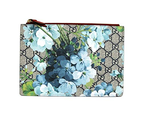 Gucci Women's Blue Bloom Coated Canvas/Red Leather Zipper Pouch 546370 8492