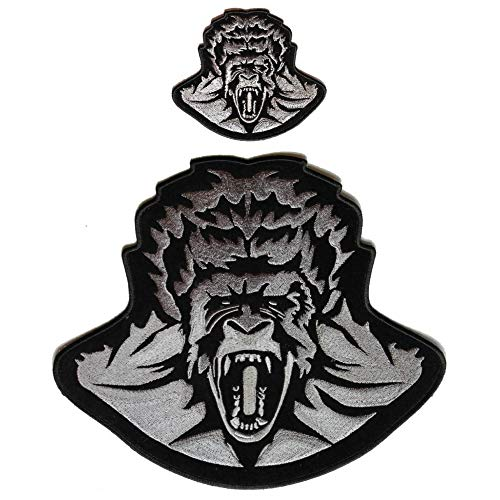 Scary Gorilla Ape 2 Piece Patch Set - Iron on Patch - 4-10 -