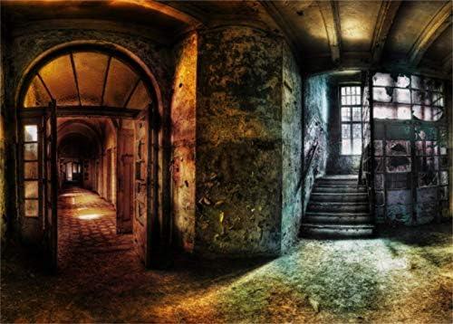 LFEEY - Fondo de pared para casa encantada de 12 x 8 pies con diseño de escalera de terror en el interior, escaleras góticas para decoración de fotografías, decoración de estudio fotográfico,