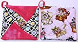 Handmade Reversible Quilted Potholders | Heat Resistant | Kitten Design | Set includes 2 potholders