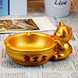BERTERI Lucky Cat Gold Ash Tray Round Cornucopia Ashtray Natural Resin Ash Tray Craft Home Decoration Birthday Gift