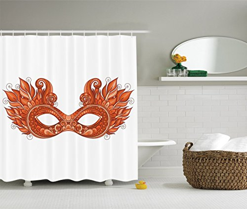 [Masquerade Decorations Collection Ornate Mardi Gras Carnival Mask with Decorative Feathers Festival Art Image Polyester Fabric Bathroom Shower Curtain Set with Hooks Peru] (Mardi Gras Masks Template)