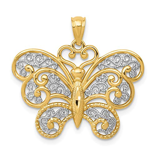 14k Yellow Gold with Rhodium Filigree Butterfly Pendant