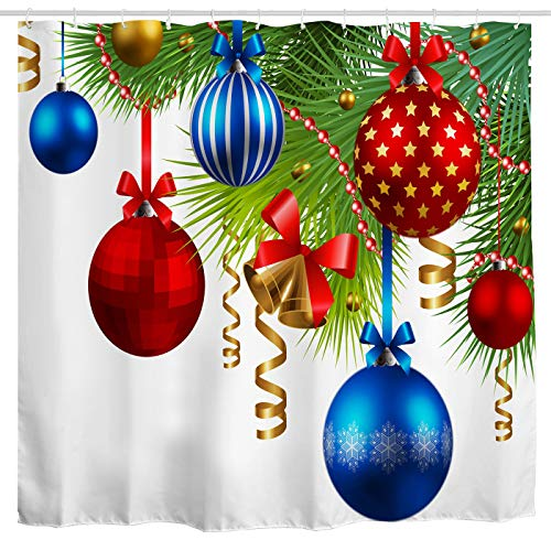 Christmas Fabric Shower Curtain,Colorful Holiday Ornaments on Pine Tree Twig Bright Decorative Art Print,Xmas Festival Home Decoration Bathroom Curtain,Polyester Waterproof Bath Decor Sets with Hooks