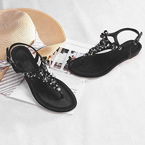 Partido Hada Cien Sandalia De Negro Perforación Pendiente Pie Clip Tacon Bajo Plano Summer Fondo Agua Jianxin Toe Talon Hembra Con xZaxnT