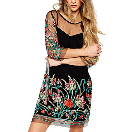 Tantisy ♣↭♣ 2Pcs Women's Basic Solid Tunic Camis+Perspective Lace Print Mini Dress Plus Size Ladies Sexy Swing Party Dress Black