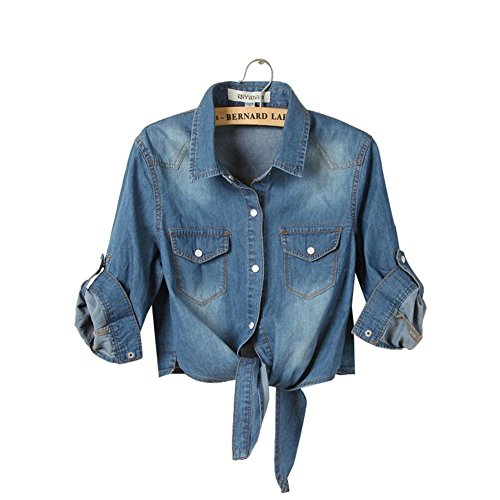 Pleated Denim Jacket (H.S.D Cool Knotted Short Denim Shawl Coat Top Jacket Dark Blue Asian XXL)