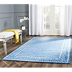 "Safavieh Adirondack Collection ADR110F Light Blue and Dark Blue Vintage Distressed Area Rug (2'6"" x 4')"