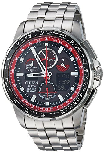 (Citizen Men's Eco-Drive Japanese-Quartz Aviator Watch with Stainless-Steel Strap, Silver, 23 (Model: JY8059-57E))